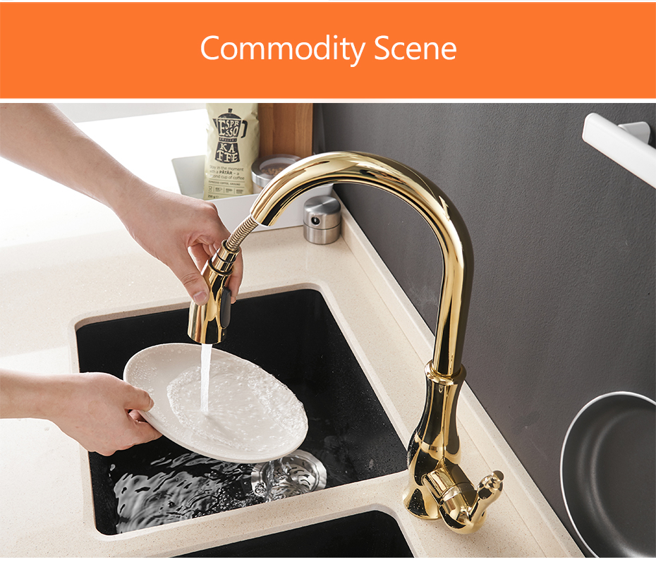 H311a914af14a4fff8e2bca5b10b6713fa Gold Kitchen Faucets Silver Single Handle Pull Out Kitchen Tap Single Hole Handle Swivel Degree Water Mixer Tap Mixer Tap 866011