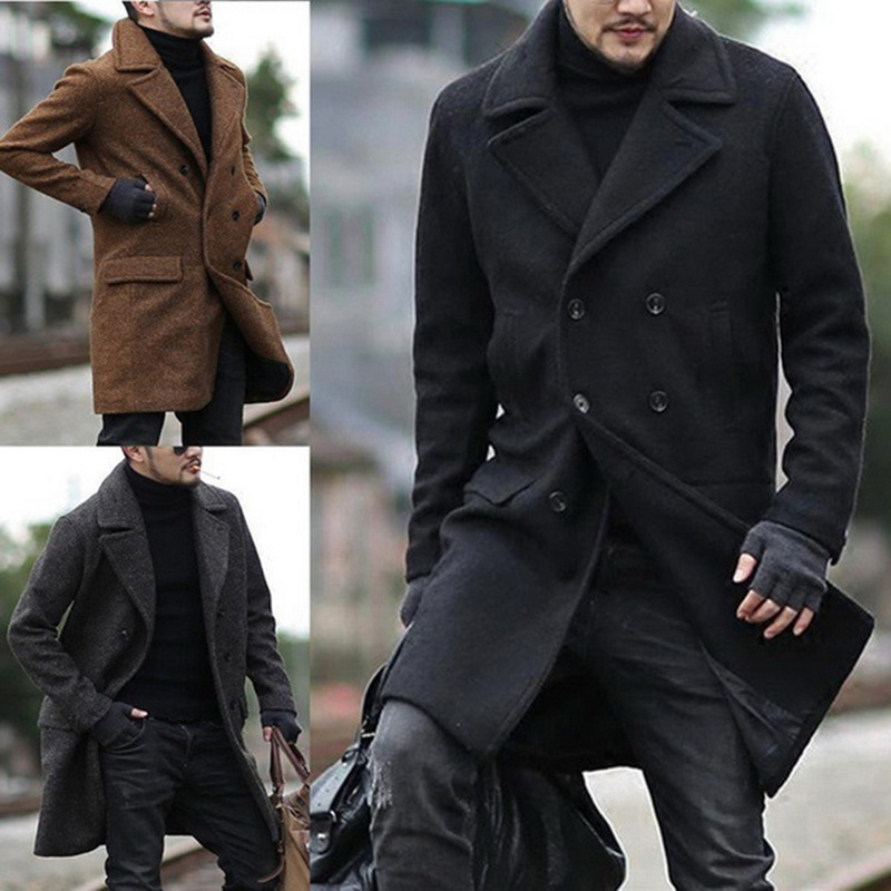 Men Winter Solid Color Jacket Fashion Double Breasted Casual Lapel Tops Coat Men Clothes Windbreaker
