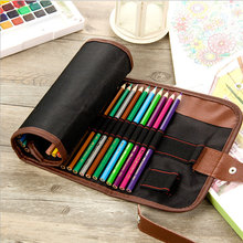72 Color Pencil Bag Canvas Curtain Lead Storage Roll Case Stationery School Supplies