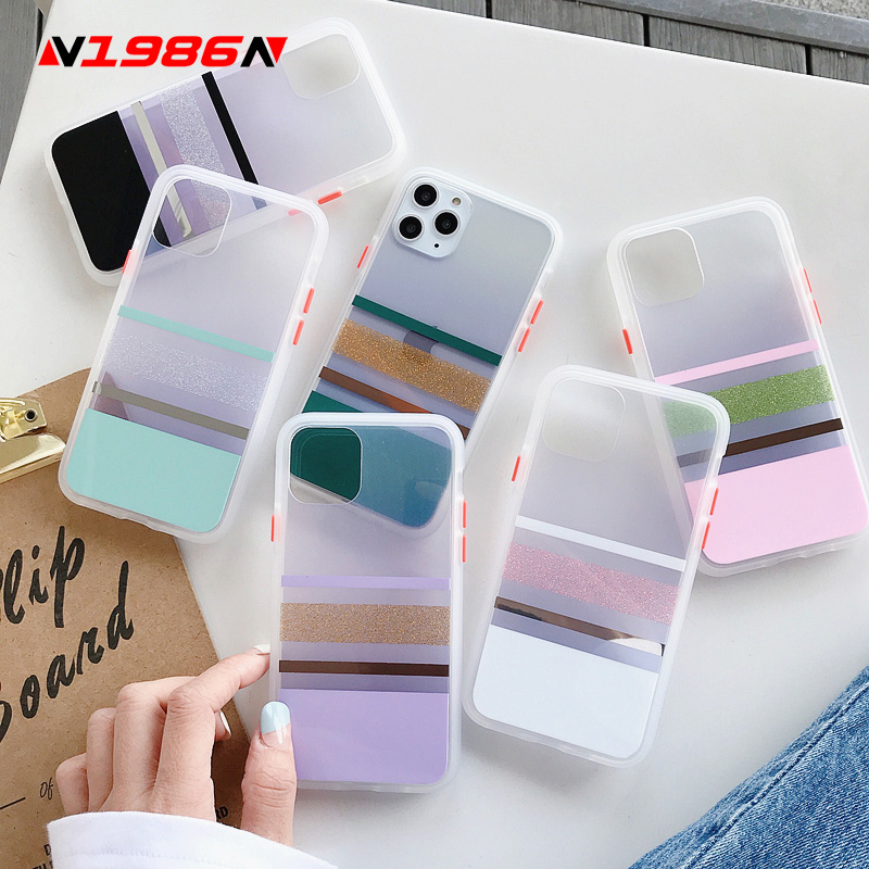 N1986N For iPhone 11 Pro X XR XS Max 7 8 Plus Phone Case Luxury Shiny Candy Color Electroplated Clear Hard PC Case For iPhone 11