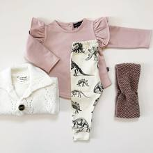 2021 Baby Mädchen Kleidung Neugeborenen Herbst 2PCS Baumwolle Strick Rüschen T-shirt + Dinosaurier Druck Hosen Kleinkind Kleidung outfits