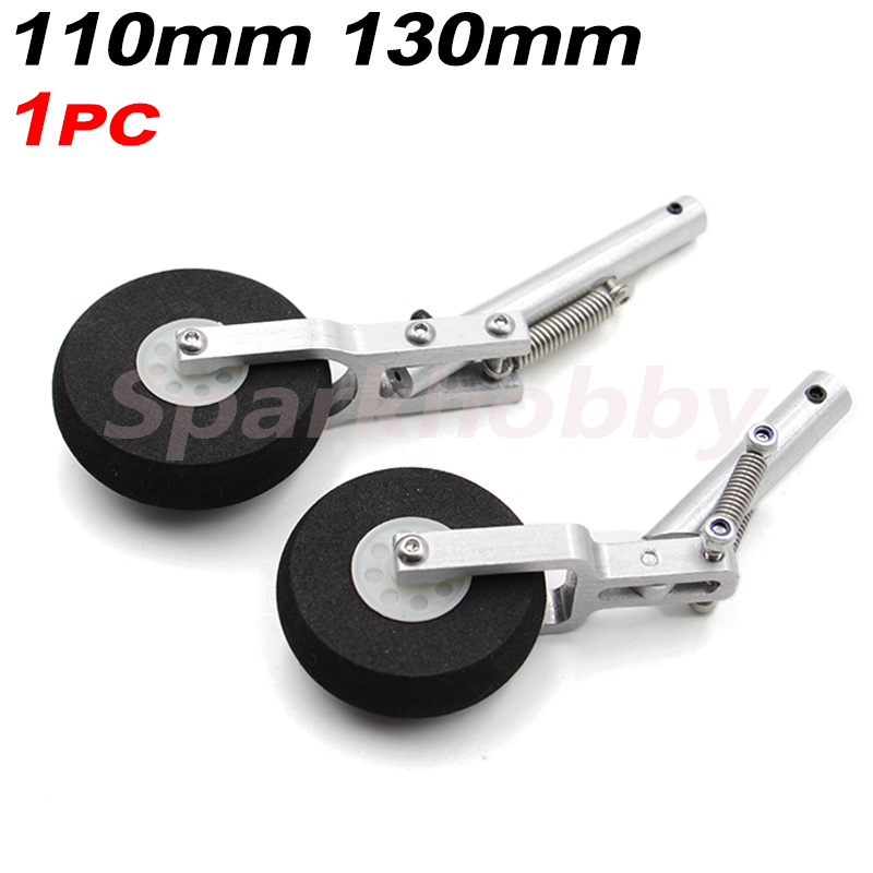 1PC 110mm 130mm Aluminum Alloy Retractable belt spring Landing Gear 45mm 50mm spomge wheel for Fixed Wing RC Airplane DIY Accs image