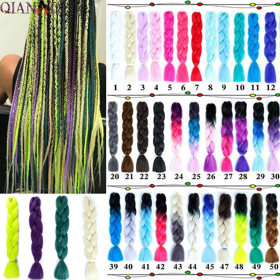 QIANAO 24inch 100g/pack Synthetic   Headwear   Ombre Afro Bulk Kanekalon Braiding Hair Extensions Jumbo Crochet Hair Braids