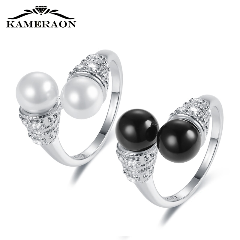KAMERAON 2019 New 925 Sterling Silver Pearl Rings Women Shining Cubic Zirconia Fashion Jewelry Goldenhoop Baton Monkey King Ring