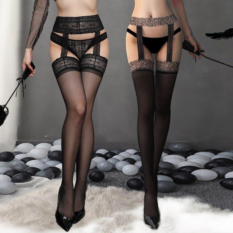 Dame Mode Sexy Frauen Stylist Spitze Strumpfhosen Oberschenkel Hoch Über Knie Lange Strümpfe + Strumpf Strumpfband Gürtel Nachtclubs Strumpfhosen