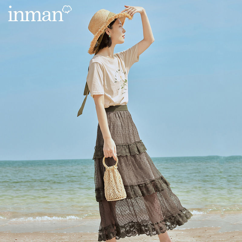 INMAN 2020 Summer New Arrival Artsy Dot Pattern Embroidery Patchwork Layered Fit Fairy Trend Skirt