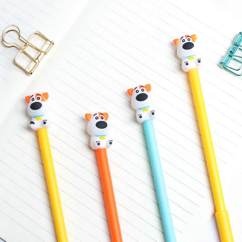 1 pçs kawaii pet cão gel caneta preto azul tinta gel caneta escola material de escritório presente papelaria escolar