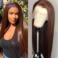 Парики из натуральных человеческих волос 13x4 на сетке спереди, бразильские парики, 180% прямые парики коричневого цвета на сетке спереди, пари...