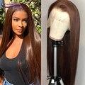 Парики из натуральных человеческих волос на сетке спереди 13 х6, бразильские парики, 180% прямые, коричневого цвета, на сетке спереди, для черны...