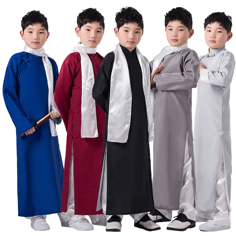 Chinese Men/'s Ancient Mandarin Robe Long Gown Ip Man Cosplay Costume Stage Dress