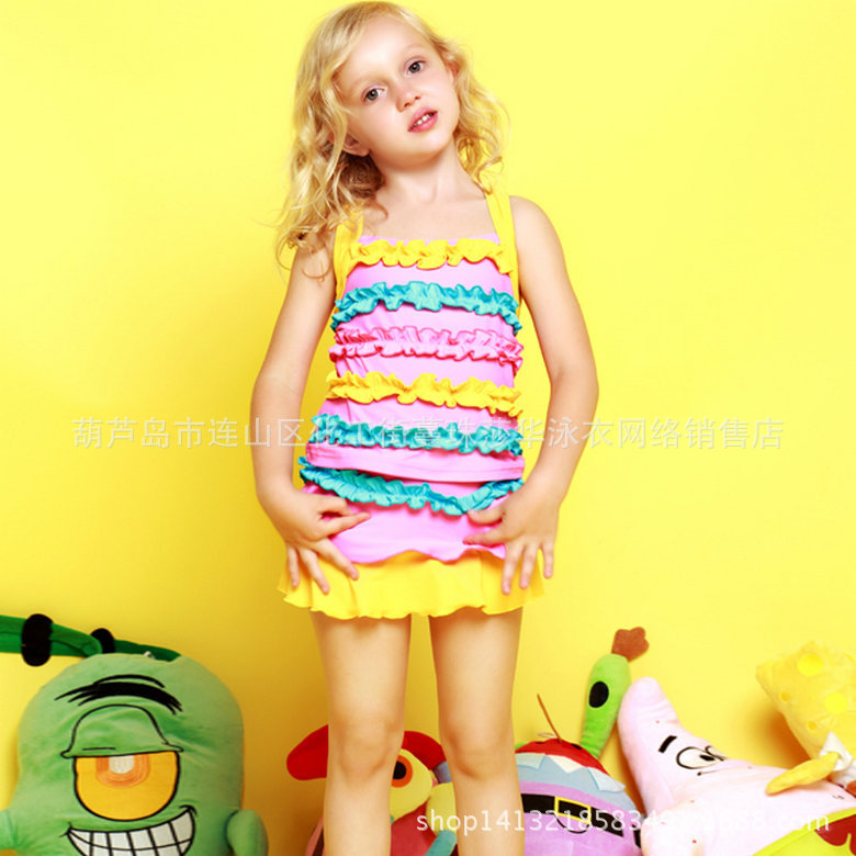 2015 Blue Du Bi Western Style Cute Girls' Two-piece Swimsuit Three-Color Selectable