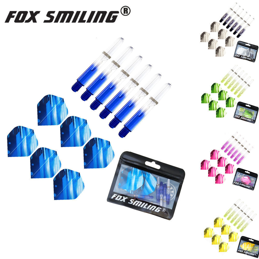 Fox Smiling 6PCS 2BA 35mm Nylon Dart Shafts With 6PCS Darts Flights Colorful Dart Accessories Dardos Feather Leaves