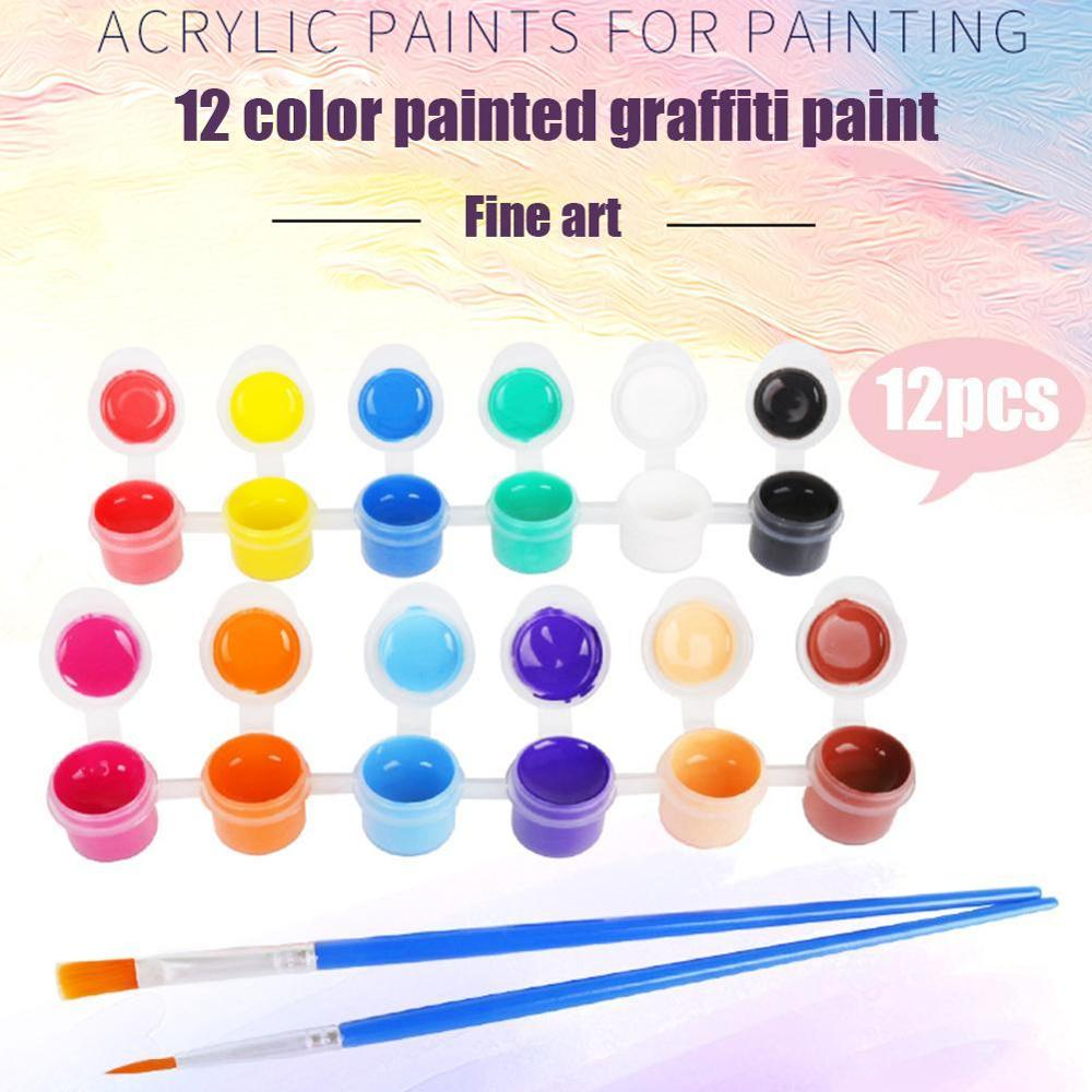 12 Colors Finger Painting Tool Kit Painting With 2 Brushes  Pigment Art DIY Toys Give Theh Children Educational Toy