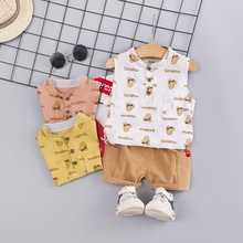 The new 2019 han edition boy vest cotton and linen suit small children sleeveless T-shirt two-piece tide the pig цена в Москве и Питере