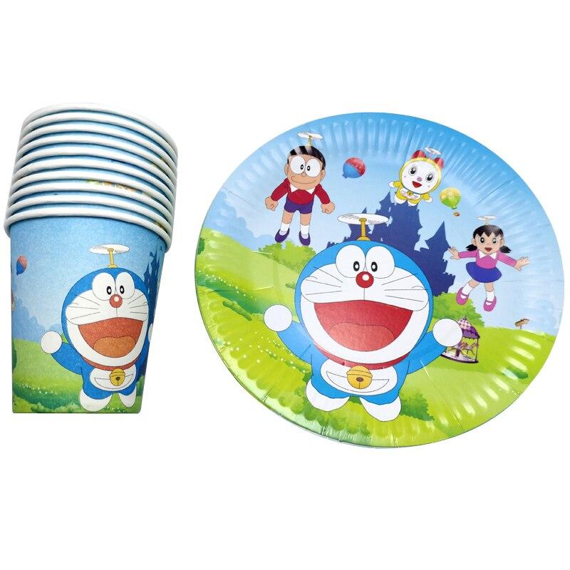 60 шт Doraemon тема украсить Baby Shower чашки тарелки Дети сувениры посуда Стекло на дни рождения, особые события вечерние набор одноразовой посуды