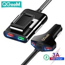 QGEEM 4 USB Auto Ladegerät für iPhone Quick Charge 3,0 Auto Tragbare Ladegerät Hammer Vorderseite Rückseite QC 3,0 Telefon Lade schnelle Auto Ladegerät