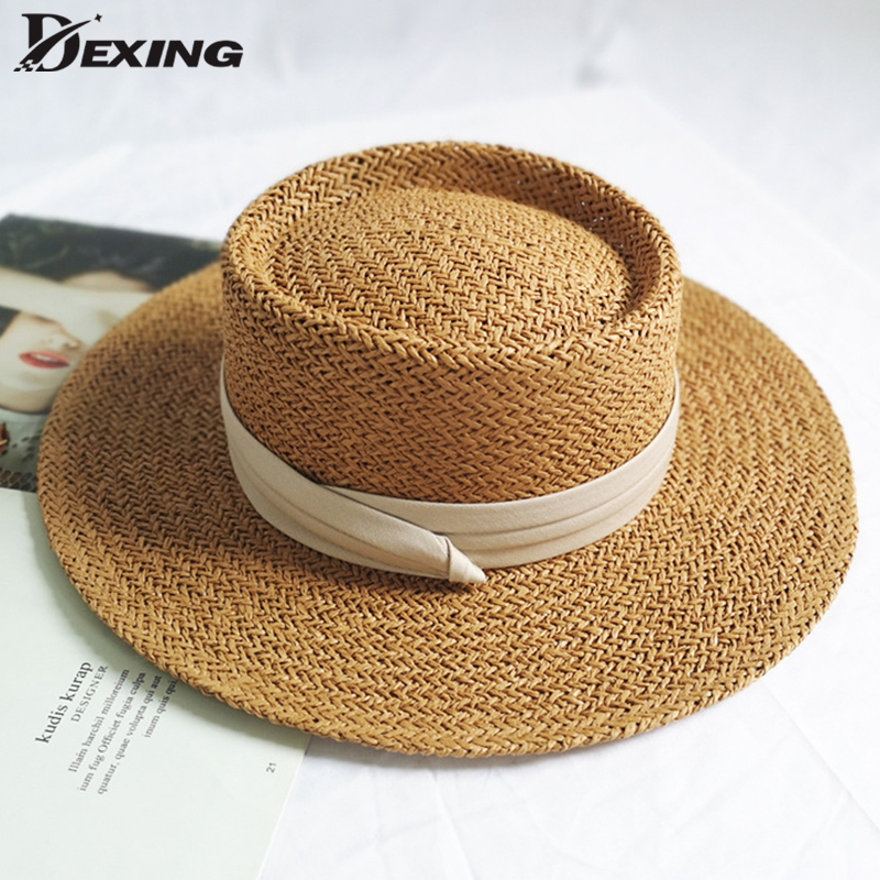 Ladies Handmade Natural Straw Hat Summer Beach Hat For Women Men Panama Cap Fashion Concave Flat Protetion Visor Sun Boat  Hats