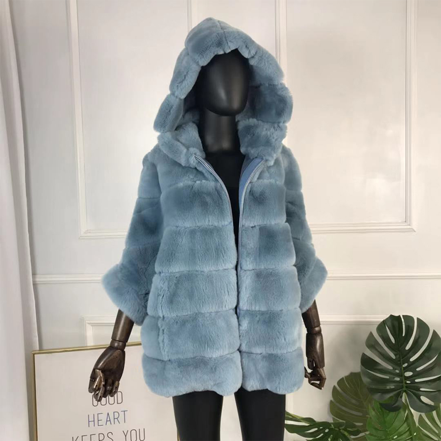 Véritable manteau de fourrure de haute qualité véritable Rex manteau de fourrure de lapin veste avec manches chauve-souris multicolore naturel véritable manteau de fourrure chaud fermeture éclair