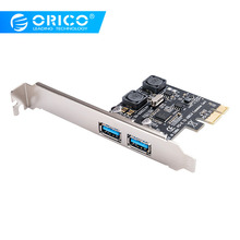 цена на ORICO 2 Port USB 3.0 PCI-E Express Card 5Gbps SuperSpeed PCI-e Expansion Card USB3.0 hub Adapter for PCI-E X1 4 8 16 Card