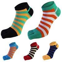 Men Cotton Toe Sock Breathable Absorb Sweat Striped Five Finger Socks Summer Male Socks