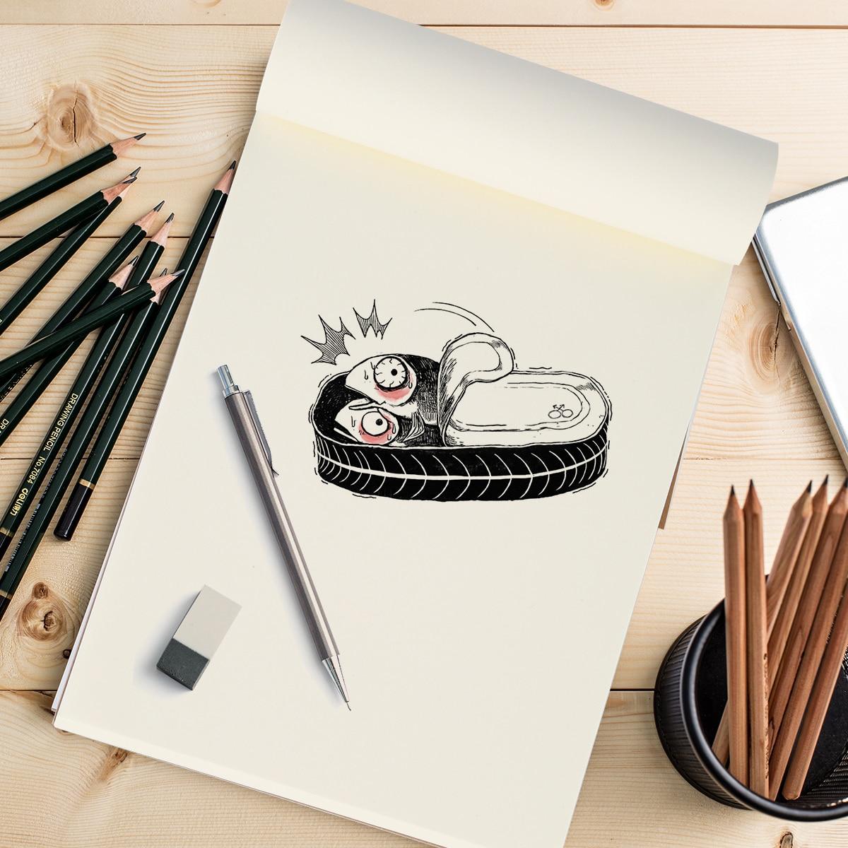 Blank Flipbook 1pc 80 Sheets Blank Flipbooks Drawing Sketchbook Kraft Cover Drawing Sketchbooks For Animation Cartoon Creation
