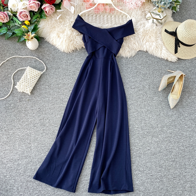 H311b6e4b601c4d159619b76392b0cccbg - New Summer Fashion Rompers For Women Sexy Slash Neck Party Elegant Jumpsuit Ladies Black Casual Backless Bodysuit Korean