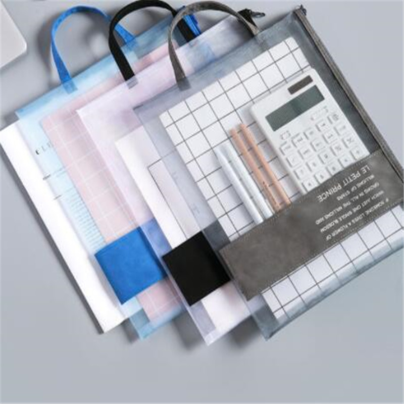 Transparent Gridding Stationery Bag Filing Products Zip Storage Bag Portable Waterproof Document Bags Student Supplies