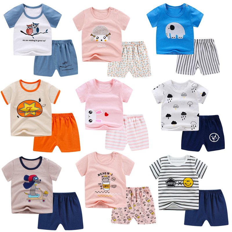 Children Underwear Sets Summer Cotton Clothes For Baby Boys And Girl Short Sleeve Pajama Set Kids Sleepwear Toddler Girl Clothes