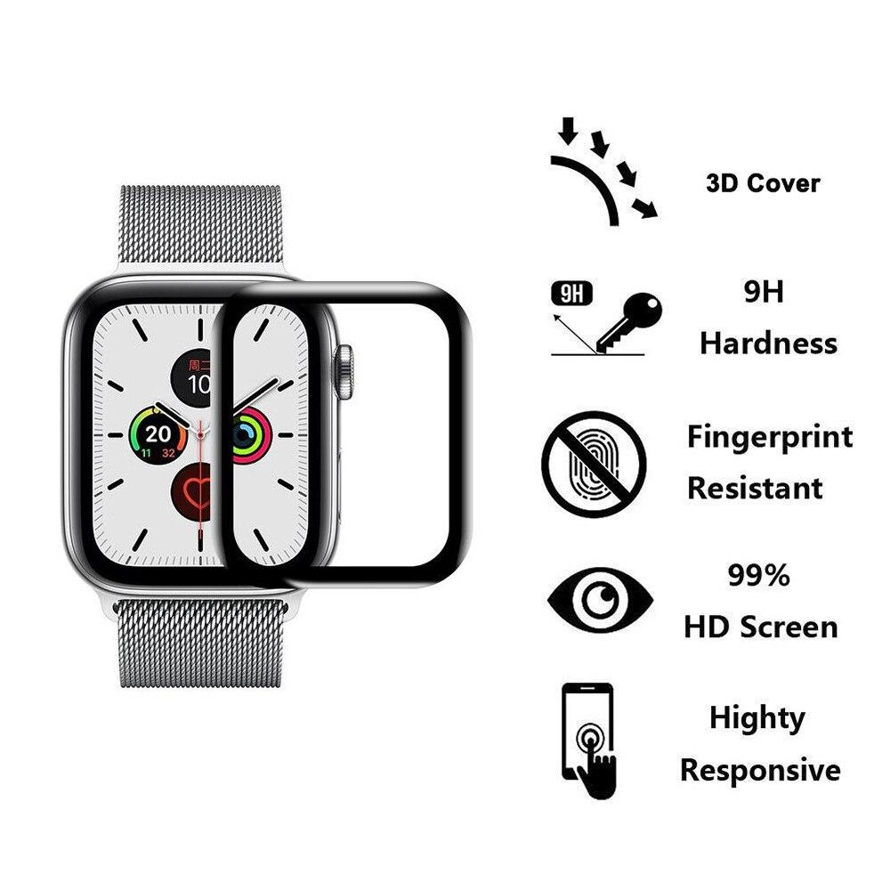 3D HD الزجاج المقسى ل apple watch 42mm 38 مللي متر 40 مللي متر 44 مللي متر كامل غطاء واقي للشاشة فيلم ل IWatch 5 4 3 2 1 ووتش ملحقاتها