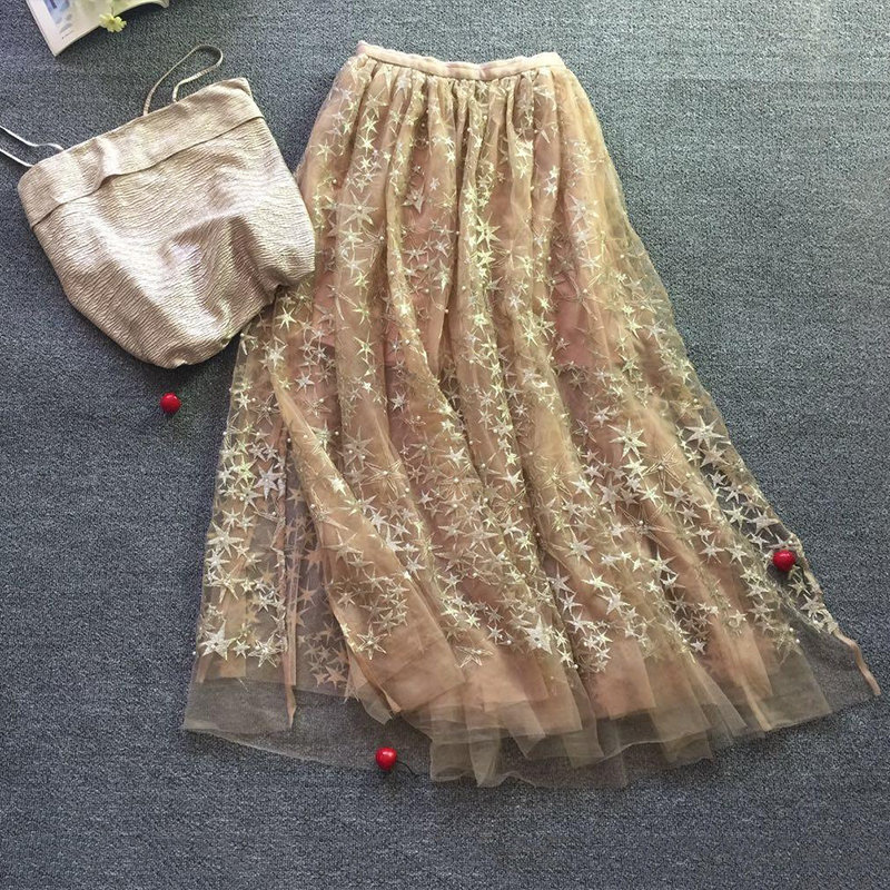 New  Jing Too Beautiful Too Beautiful Hot Drill Lateral Split Double Gauze Veil Beautifully Embroidered Stars Beading Skirts