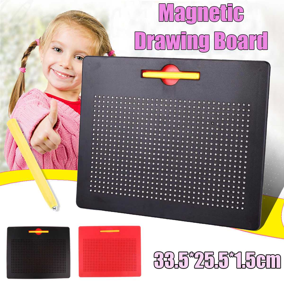 33.5x25.5cm Magnetic Tablet Magnet Pad Drawing Board Steel Bead Stylus Pen Learning Educational Writing Toys For Children Gift