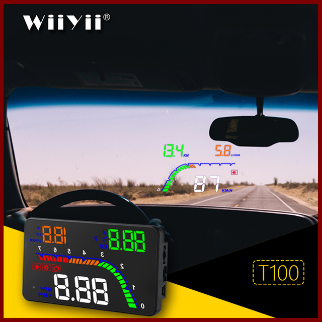GEYUREN A100s T100 OBD car hud head up head up display 2019 temperature gauge obd Overspeed Warning System Projector Windshield