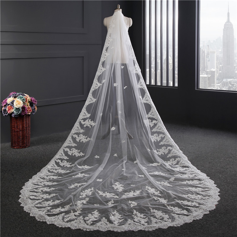 Beauty-Emily 3-Meters White Cathedral Wedding Veils 2019 Long Lace Appliques Bridal Accessories With Comb Wedding Accessories