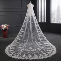 Beauty Emily 3 Meters White Cathedral Wedding Veils 2019 Long Lace Appliques bridal accessories with Comb Wedding Accessories