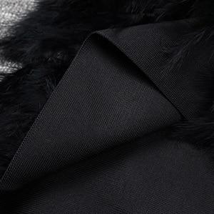 Image 5 - Vc tudo frete grátis quente 2020 novo chique penas embelezado mangas compridas malha retalhos celebridade atacado vestido bandagem