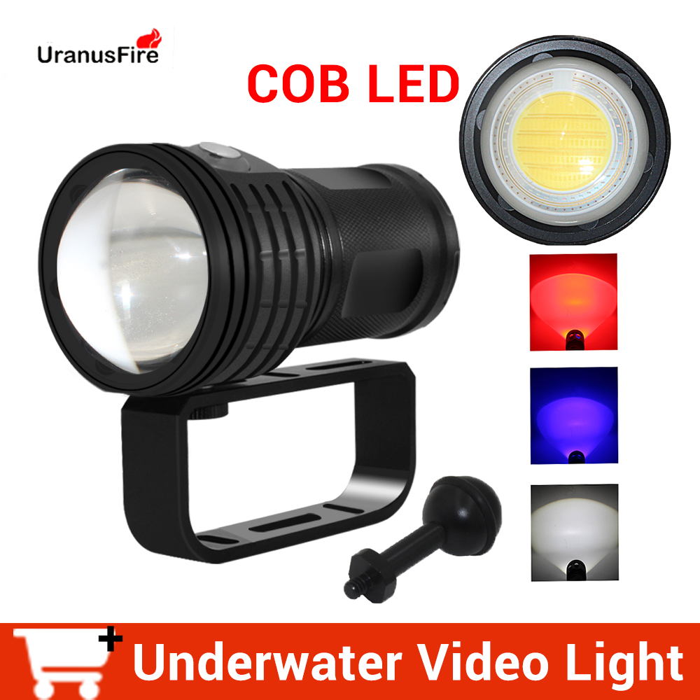Tactical Underwater 100m LED Diving Flashlight Waterproof COB LED 10800Lumens Photography Video Fill Light Torch 4 18650 Battery