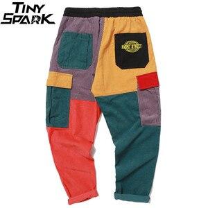 Image 3 - Hip Hip Broek Vintage Kleur Blok Patchwork Corduroy Cargo Harem Broek Streetwear Harajuku Jogger Sweatpant Katoenen Broek 2019
