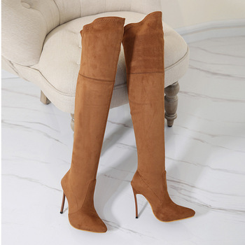 Women's shoes Flock Slip On Thin Heels 12 cm pointed thin high heels over the knee boots women's boots thin legs skinny legs image