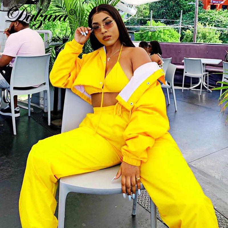Dulzura 2019 Autumn Winter Women Two Piece Set Coat Jacket Pants Streetwear Festival Clothes Outfit Co Ord Tracksuit Jogger Club