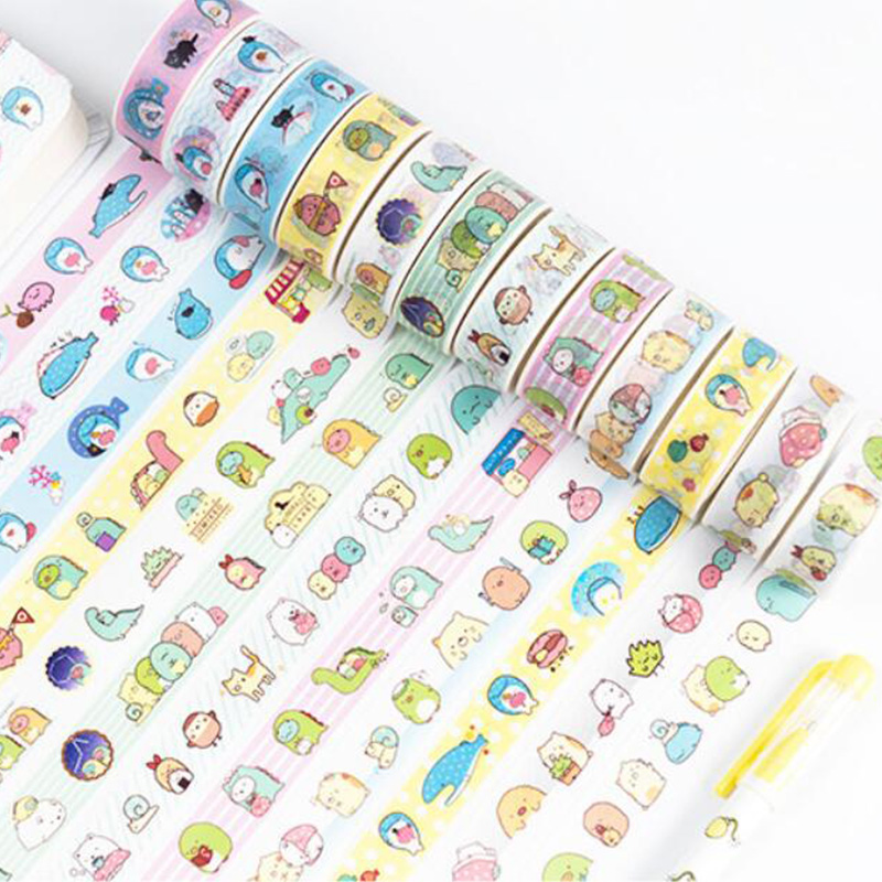 Cartoon Sumikko Gurashi Bullet Journal Washi Tape Cute Adhesive Tape DIY Scrapbooking Stickers Stationery Label Masking Tapes