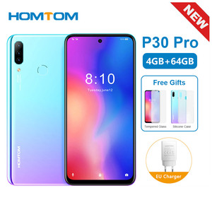 Original New HOMTOM P30 Pro 6.41Inch Android 9.0 Mobile Phone MT6763 Octa Core 4GB 64GB Rear 13MP Triple Cameras Smartphone