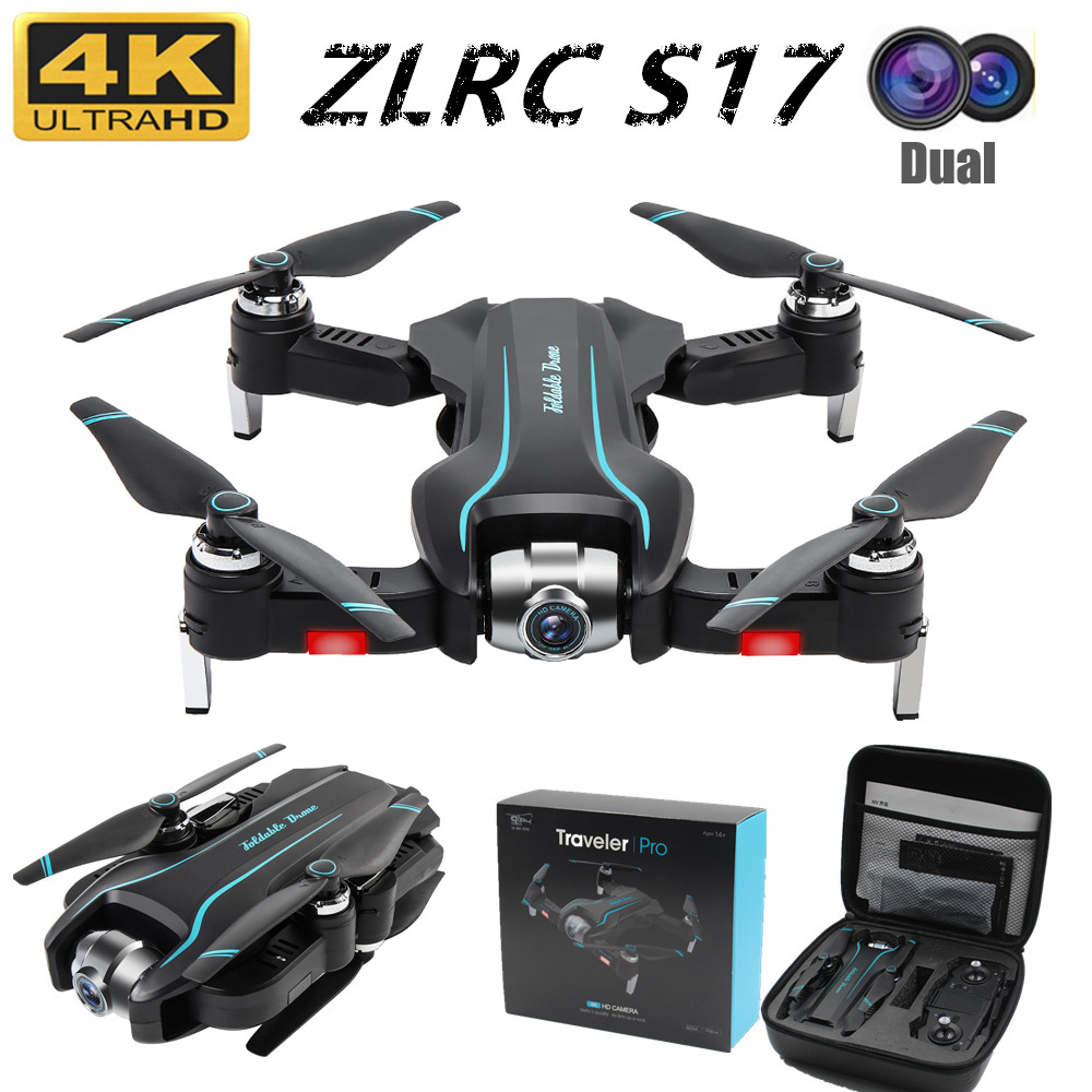 Foldable Drone S17 50 Times Zoom ESC Dual Camera HD WIFI FPV Optical Flow RC Quadcopter Helicopter Camera 4K Dron VS SG901 SG106