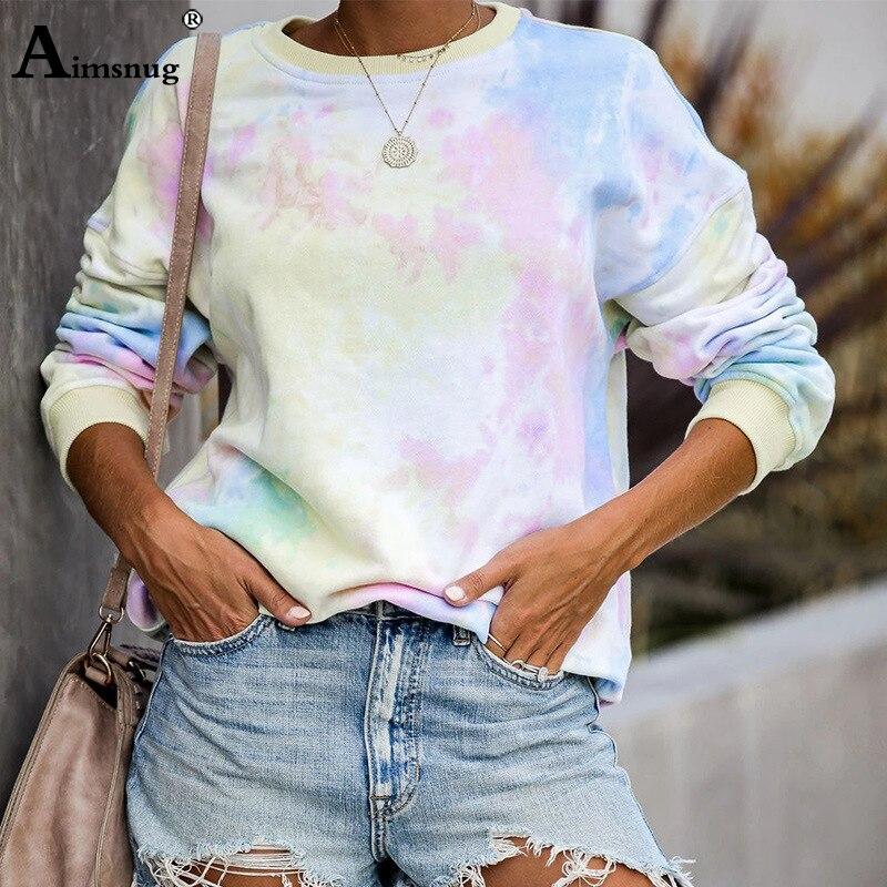 Aimsnug 2019 Fashion Sweatshirts Women Causal Rainbow Printed Basic Sweatshirt Long Sleeve Pullover Tops Sudadera Mujer Pullover