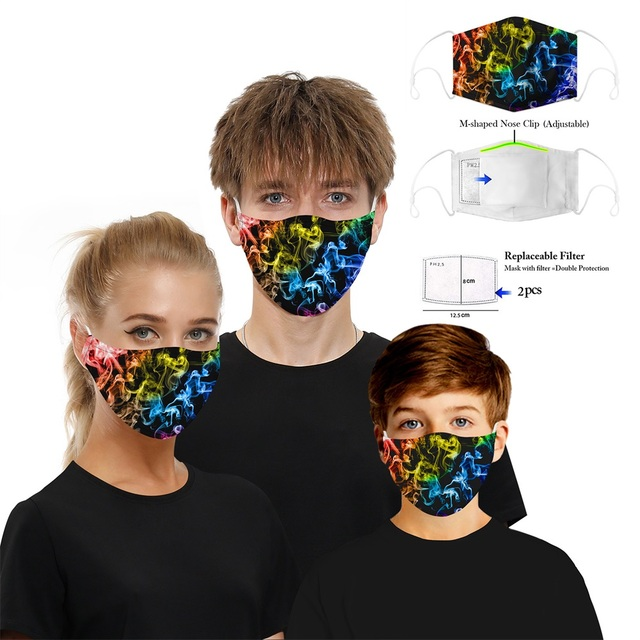 PM2.5 Anti dust Mouth Mask Anti-fog Activated carbon Filter Face Masks bacteria proof Flu Anti Pollution Multicolor Print masque 1