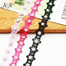 JOJO BOWS 30mm 1y Pearl Diamond Six Petal Flower Lace Ribbon For Needlework Apparel Sewing Material DIY Handmade Craft Supplies