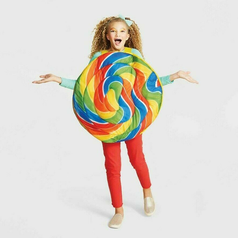 Kids Adult Classic Colorful Swirly Rainbow LOLLIPOP Halloween Costume| - AliExpress