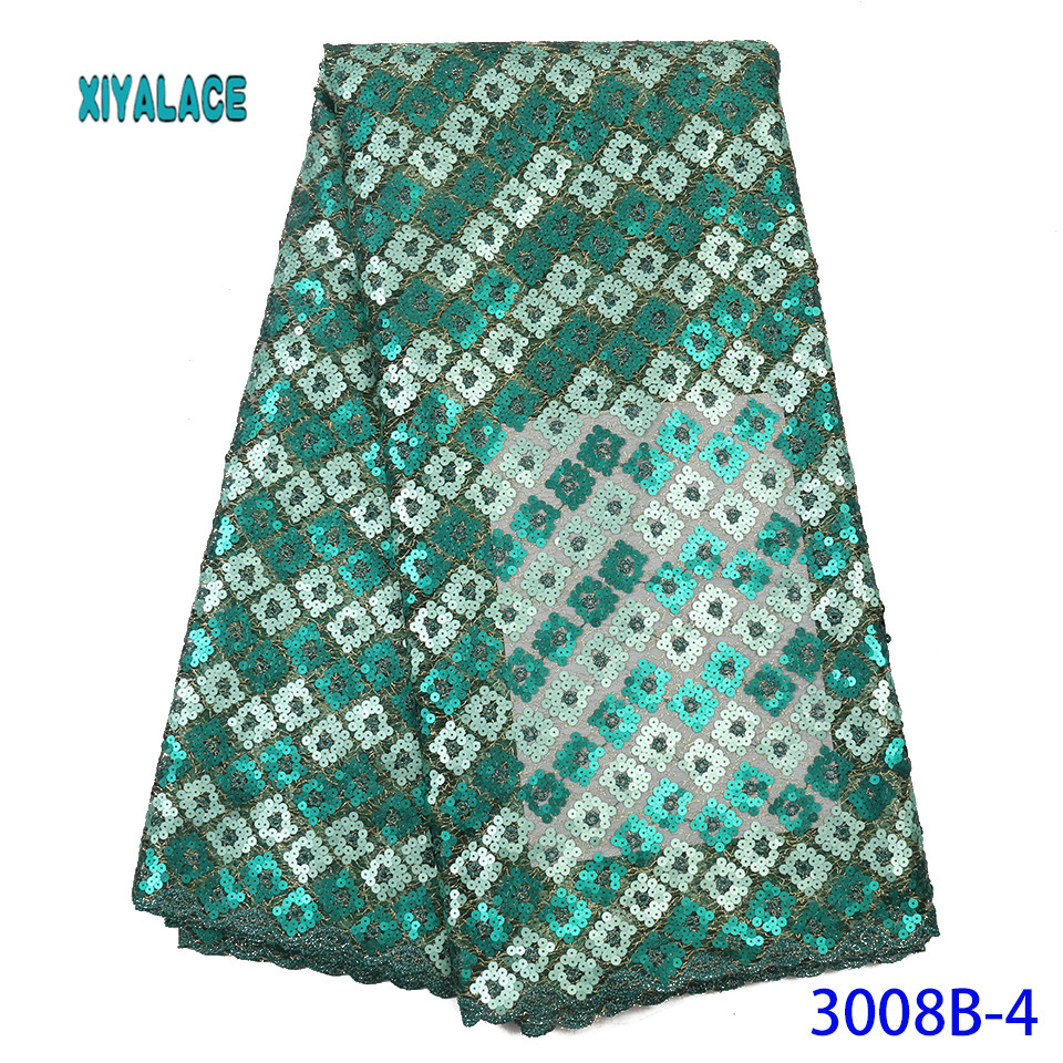 African Lace Fabric Latest High Quality 2019 Lace Embroidery French Lace Fabric Bridal Lace For Nigerian Sequins Dress YA3008B-4