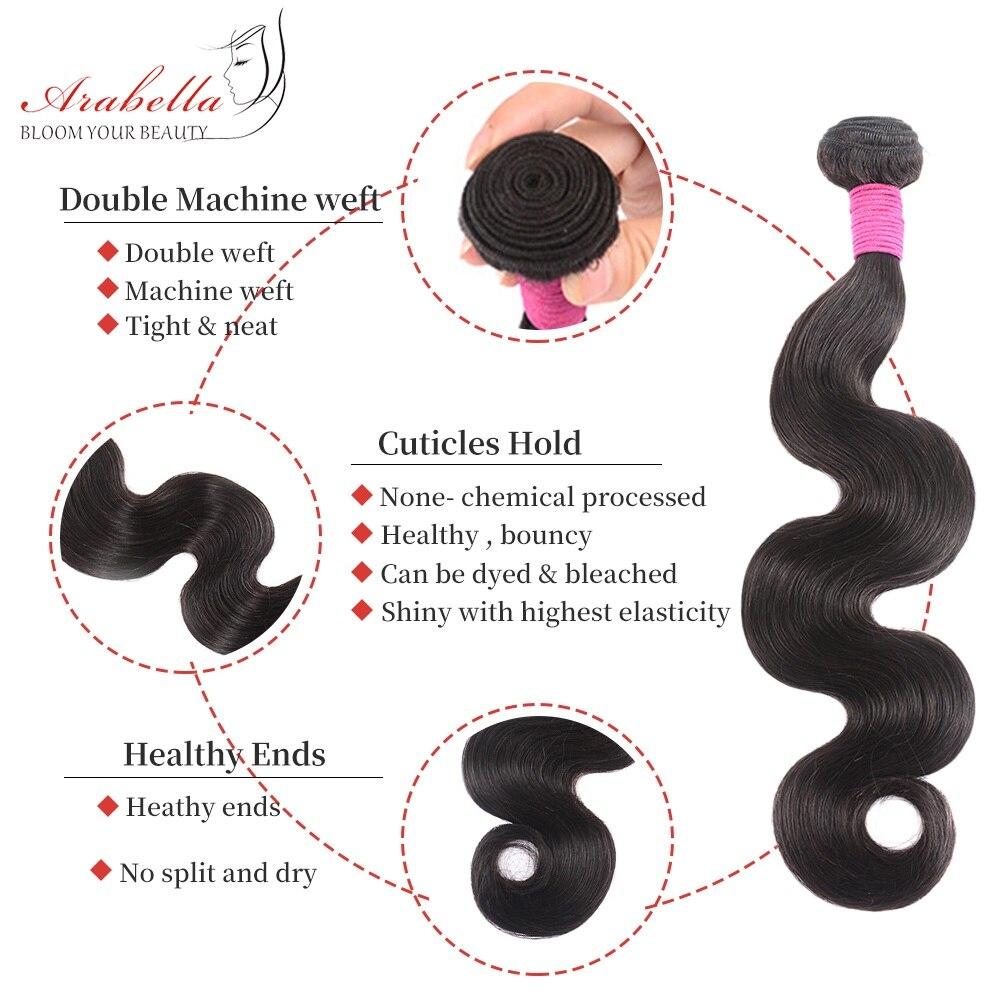 Body Wave 3 Bundles With Closure Natural Color   Arabella  Hair 3 Bundles With 4*4 Lace Closure 4
