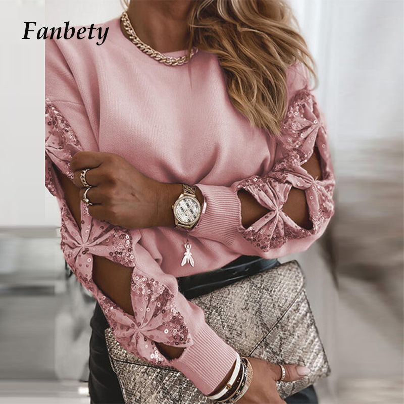 2021 Spring Women Fashion Sequin Patchwork Tops Elegant Hollow Out Bow Long Sleeve Blouse Shirt Office Lady Casual Knit Pullover