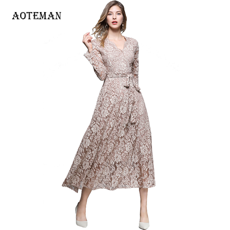 Luxury Autumn <font><b>Summer</b></font> <font><b>Dress</b></font> <font><b>Women</b></font> <font><b>2019</b></font> <font><b>Sexy</b></font> <font><b>Elegant</b></font> V Neck Long <font><b>Lace</b></font> <font><b>Dresses</b></font> Female <font><b>Fashion</b></font> Slim Hollow Out Party <font><b>Dress</b></font> Vestidos image